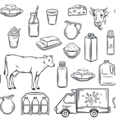 hand drawn milk product seamless pattern vector image