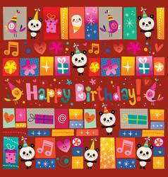 happy birthday greeting card with cute panda bears vector image