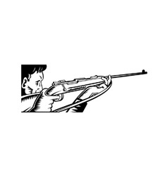 Hunter aiming rifle woodcut vector