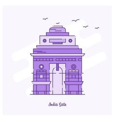 india gate landmark purple dotted line skyline vector image