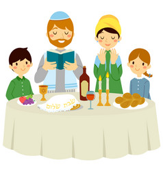 jewish family on shabbat eve vector image