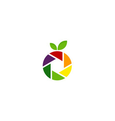 lens fruit logo icon design vector image