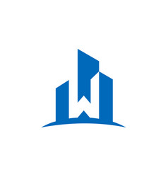 letter w architecture logo vector image