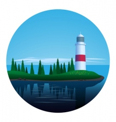 Lighthouse on island vector