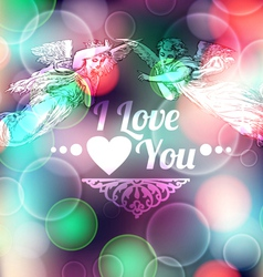 Love Background with Angels vector