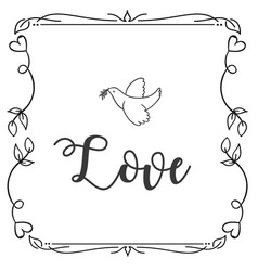 love bird square frame design background im vector image