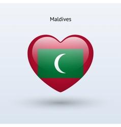 Love Maldives symbol Heart flag icon vector