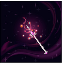 Magic wand witch pink gem vector