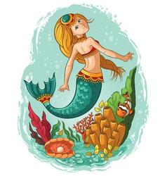 mermaid swimming in ocean vector image