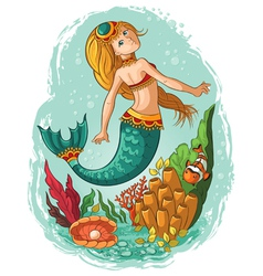 Mermaid swimming in the ocean vector