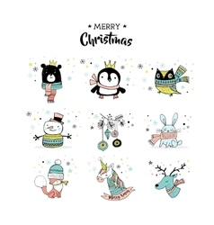 Merry Christmas hand drawn cute doodles stickers vector image
