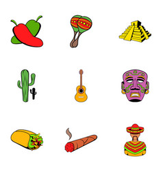 mexican travel icons set cartoon style vector image