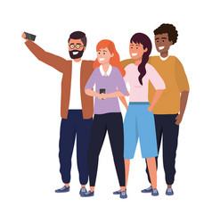 Millennial diverse group taking selfie vector