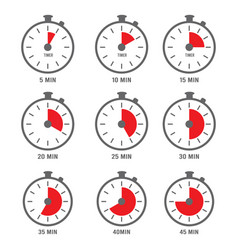 minutes icon hour clock symbols 10 times 5 vector image