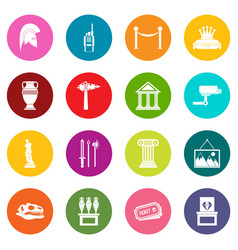 museum icons many colors set vector image