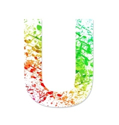 Music theme grungy font Letter U vector