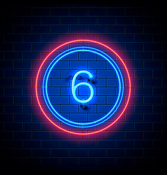 Neon city font sign number 6 vector
