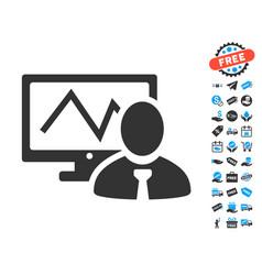 Online trader icon with free bonus vector