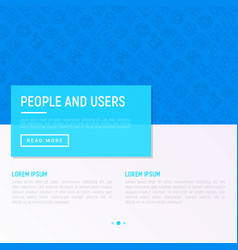 people and users concept with thin line icons vector image