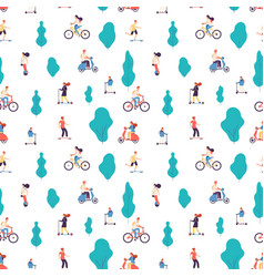 people ride men and women on bicycles scooters vector image