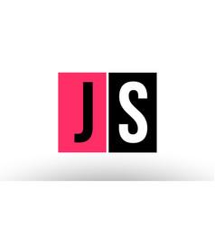 Pink black white alphabet letter js j s logo vector