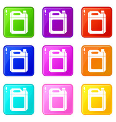 Plastic jerry can set 9 vector
