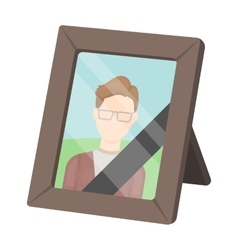 Portrait of deceased person icon in cartoon style vector