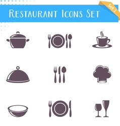 Restaurant icons collection vector image
