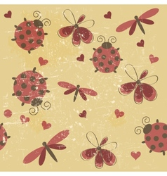 Romantic seamless pattern with dragonflies vector