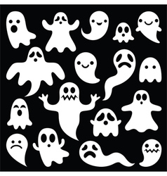 Scary white ghosts design - Halloween vector
