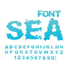 Sea font Water ABC Aqua alphabet Wet Letters Blue vector
