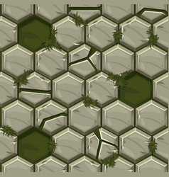 Seamless pattern hexagonal old stone paving vector