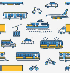 Seamless pattern with transport of different types vector