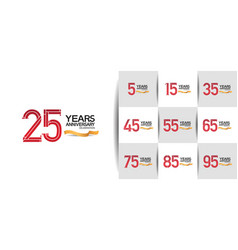 Set anniversary logo style with red and black vector