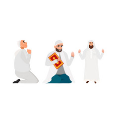 Set islamic man in a white robe vector