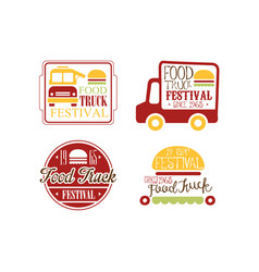 Set of bright colored logos for food truck vector