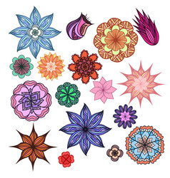 Set of colorful doodle flowers with boho pattern vector
