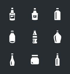 set of glass container icons vector image