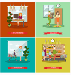 set of purchases concept posters banners vector image