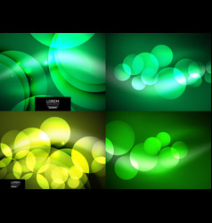 Set of shiny glowing glass circles modern vector