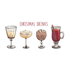 Set popular christmas drinks isolated on white vector