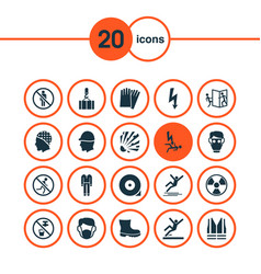Sign icons set includes icons such as slippery vector