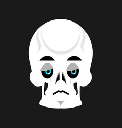 Skull sad emoji skeleton head sorrowful emotion vector