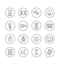 Smart house technology system line icons vector