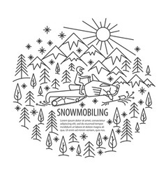 snowmobiling tour template vector image