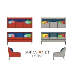 Sofas Set Furniture for Your Interior Design vector image