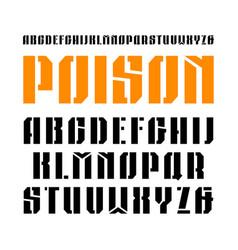 Stencil-plate narrow sanserif font vector