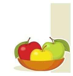 Still life three colourful apples vector