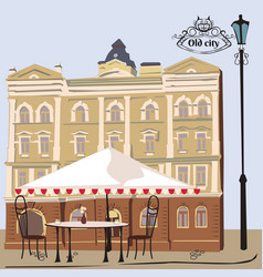 street scene with cafe vector image