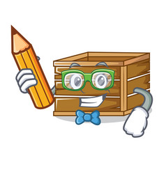 Student crate character cartoon style vector